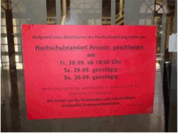 Musikhochschule geschlossen